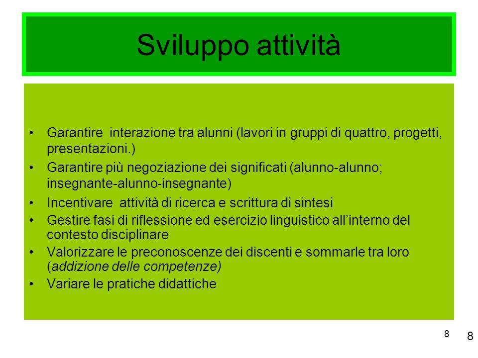 8 Sviluppo attività Garantire interazione tra alunni (lavori in gruppi di quattro, progetti, presentazioni.) Garantire più negoziazione dei significat