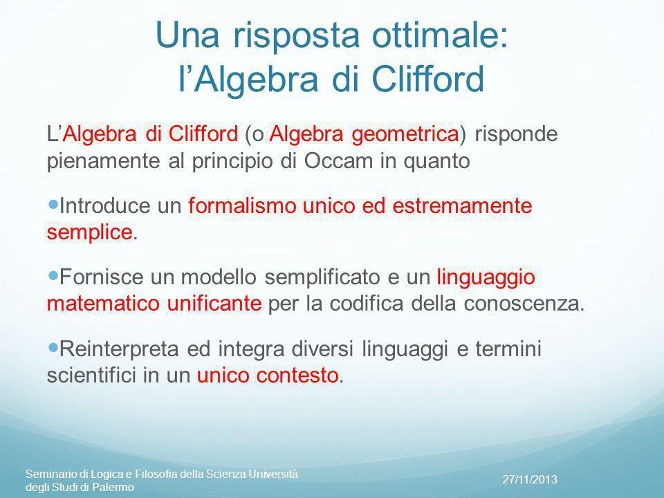 Una risposta ottimale: l'Algebra di Clifford L'Algebra di Clifford (o Algebra geometrica) risponde pienamente al principio di Occam in quanto Introduce un formalismo unico ed estremamente semplice.