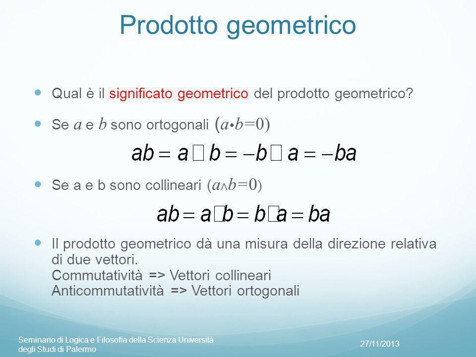 Prodotto geometrico Qual è il significato geometrico del prodotto geometrico.