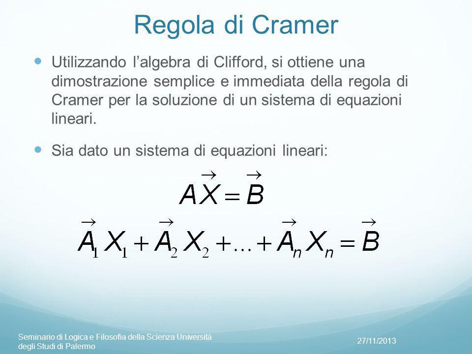 Regola di Cramer Utilizzando l'algebra di Clifford, si ottiene una dimostrazione semplice e immediata della regola di Cramer per la soluzione di un sistema di equazioni lineari.