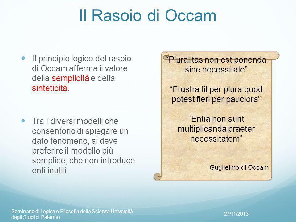 Il Rasoio di Occam Il principio logico del rasoio di Occam afferma il valore della semplicità e della sinteticità.