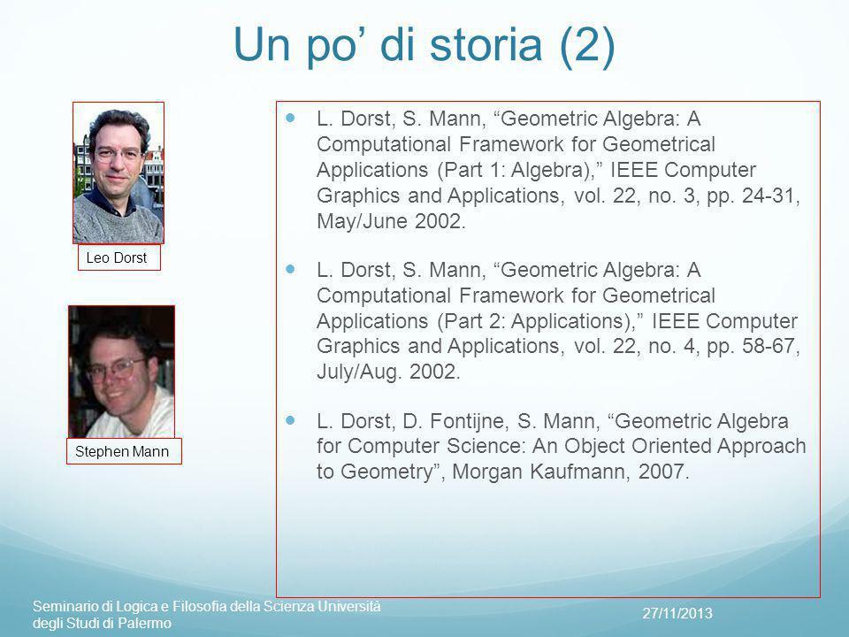 Un po' di storia (2) 27/11/2013 Seminario di Logica e Filosofia della Scienza Università degli Studi di Palermo Leo Dorst Stephen Mann L.