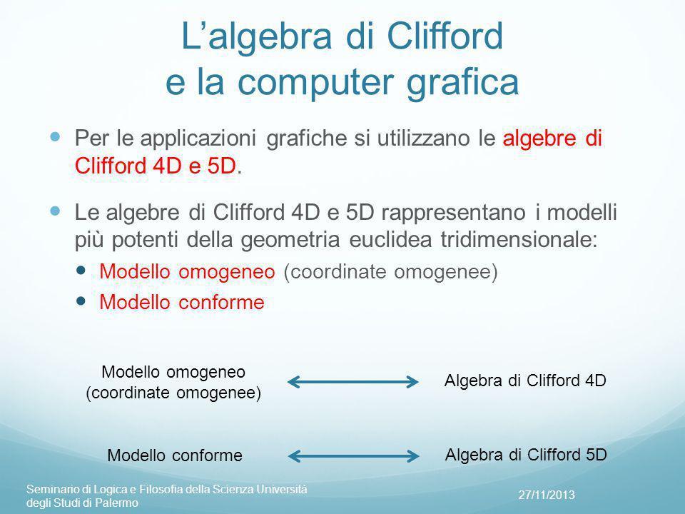 L'algebra di Clifford e la computer grafica Per le applicazioni grafiche si utilizzano le algebre di Clifford 4D e 5D.