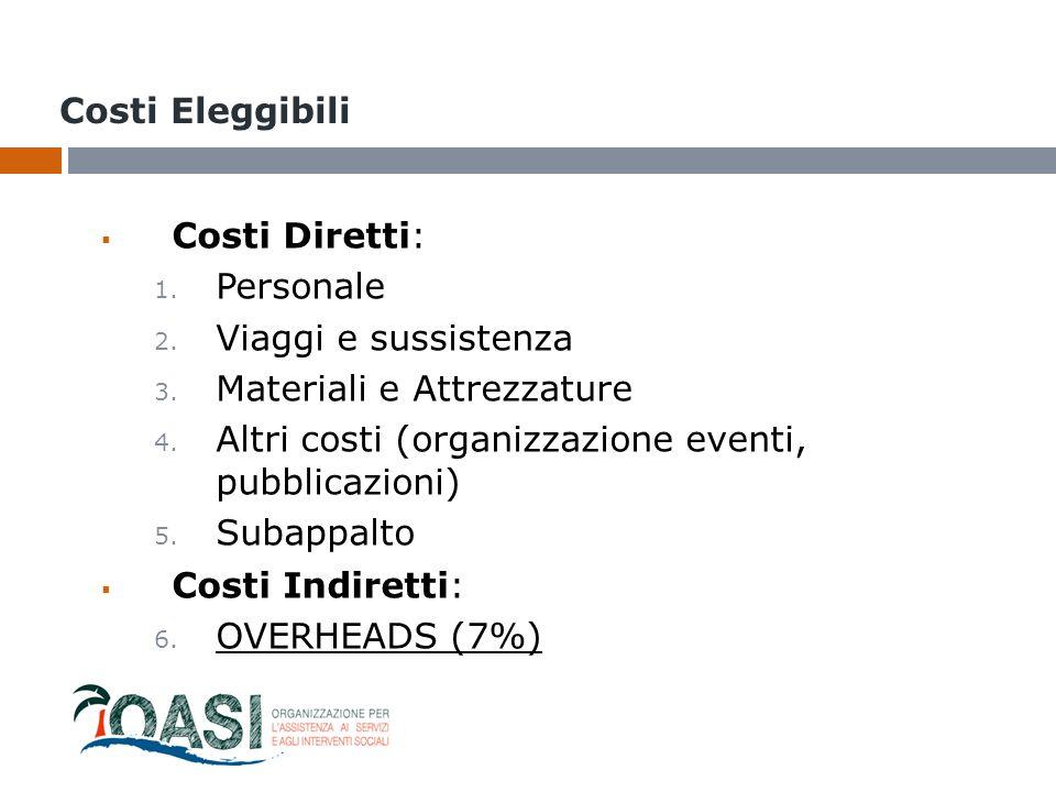 Costi Eleggibili  Costi Diretti: 1. Personale 2. Viaggi e sussistenza 3. Materiali e Attrezzature 4. Altri costi (organizzazione eventi, pubblicazion