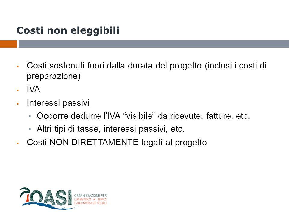 Costi non eleggibili  Costi sostenuti fuori dalla durata del progetto (inclusi i costi di preparazione)  IVA  Interessi passivi  Occorre dedurre l