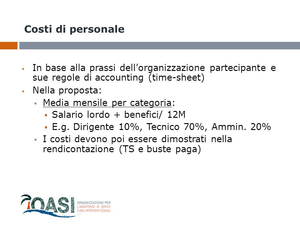 Costi di personale  In base alla prassi dell'organizzazione partecipante e sue regole di accounting (time-sheet)  Nella proposta:  Media mensile pe
