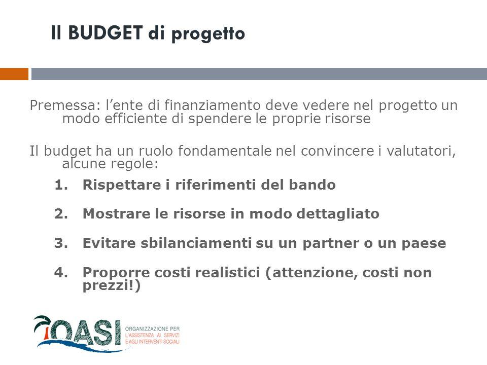 Il BUDGET di progetto Premessa: l'ente di finanziamento deve vedere nel progetto un modo efficiente di spendere le proprie risorse Il budget ha un ruo