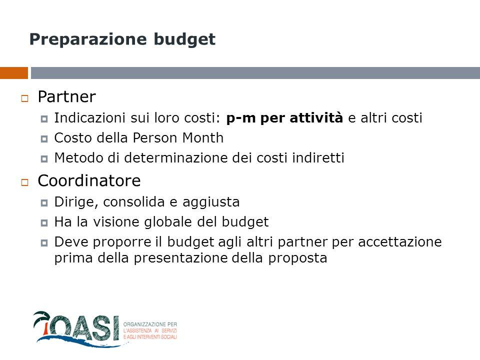 Preparazione budget  Partner  Indicazioni sui loro costi: p-m per attività e altri costi  Costo della Person Month  Metodo di determinazione dei c