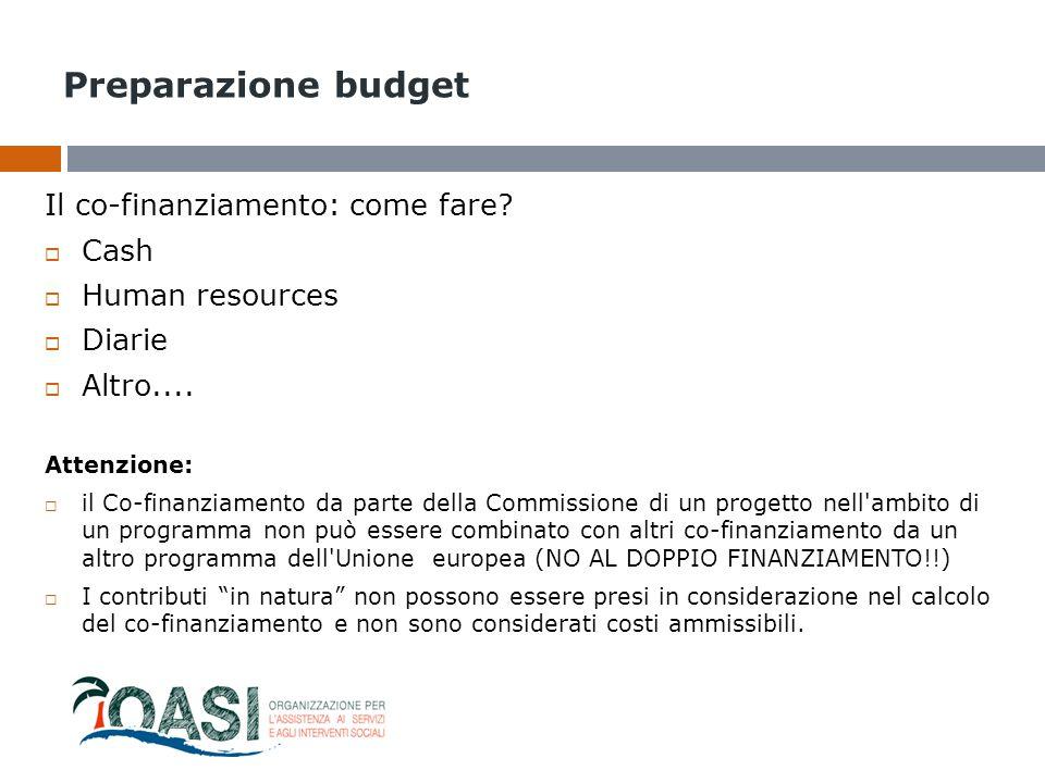 Preparazione budget Il co-finanziamento: come fare?  Cash  Human resources  Diarie  Altro.... Attenzione:  il Co-finanziamento da parte della Com