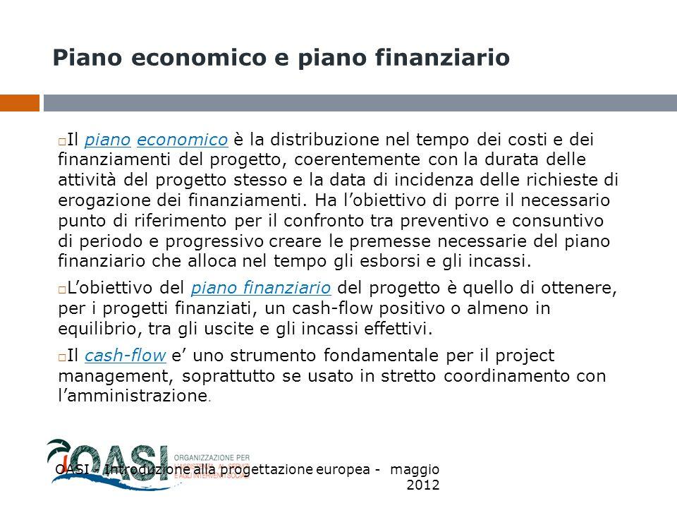 Piano economico e piano finanziario  Il piano economico è la distribuzione nel tempo dei costi e dei finanziamenti del progetto, coerentemente con la