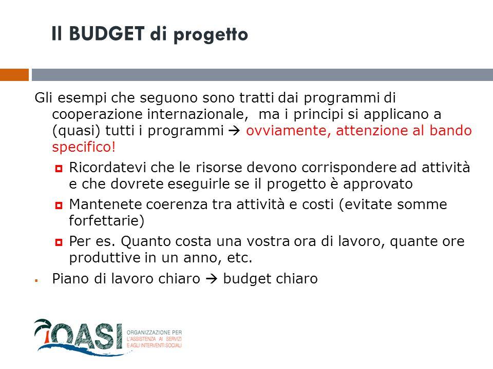Il BUDGET di progetto Gli esempi che seguono sono tratti dai programmi di cooperazione internazionale, ma i principi si applicano a (quasi) tutti i pr