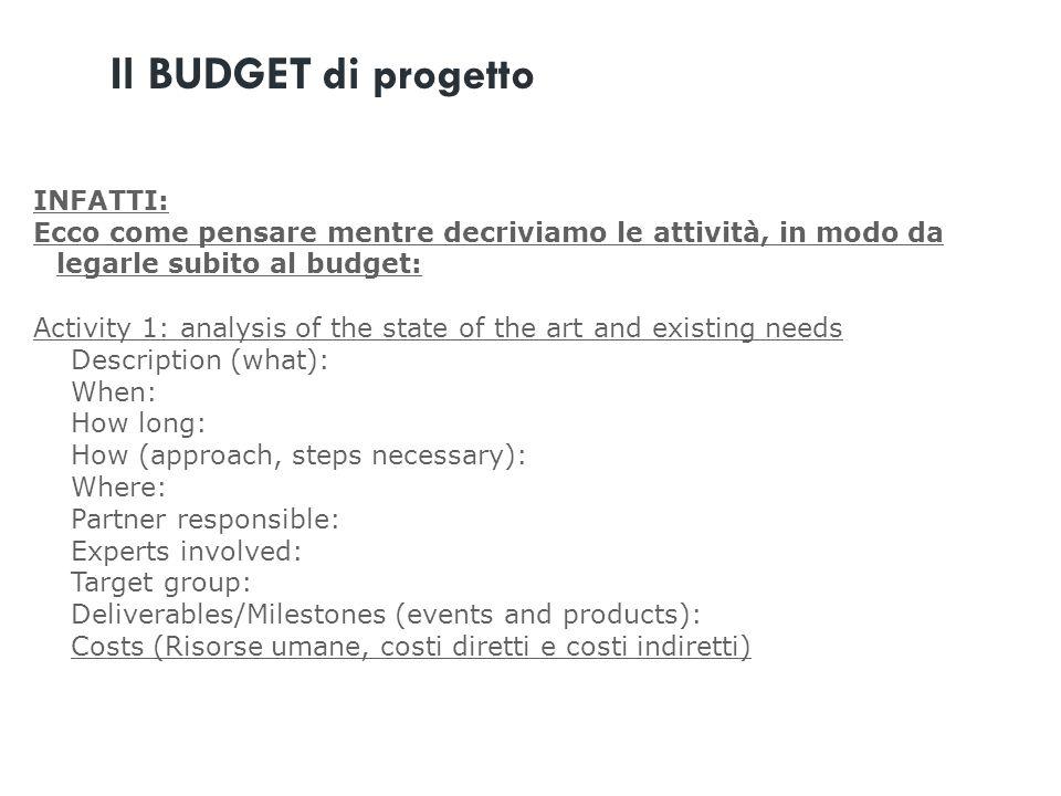 INFATTI: Ecco come pensare mentre decriviamo le attività, in modo da legarle subito al budget: Activity 1: analysis of the state of the art and existi