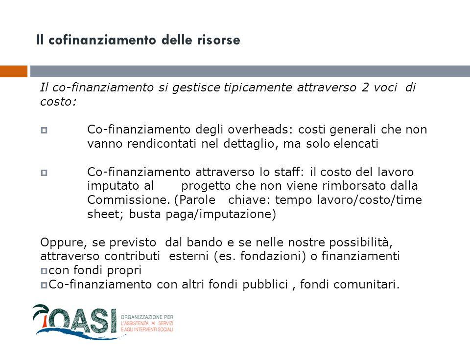 Il co-finanziamento si gestisce tipicamente attraverso 2 voci di costo:  Co-finanziamento degli overheads: costi generali che non vanno rendicontati