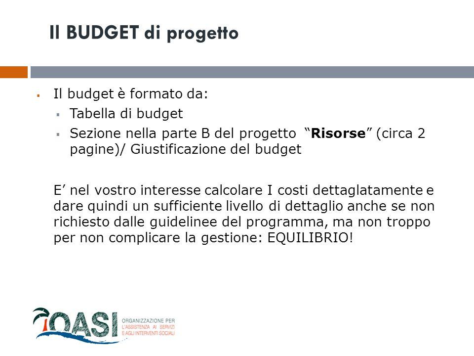 """ Il budget è formato da:  Tabella di budget  Sezione nella parte B del progetto """"Risorse"""" (circa 2 pagine)/ Giustificazione del budget E' nel vostr"""