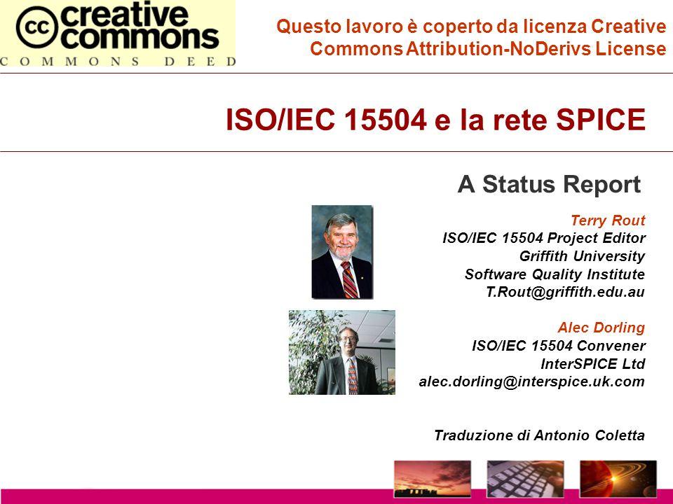 Copyright InterSPICE Ltd.ISO/IEC 15504 (SPICE): Current and Future Directions1 December 2003 Software Quality Institute Inter SPICE Il Processo di Valutazione del Processo RUOLI E RESPONSABILITA' Sponsor Valutatore Competente Valutatori INPUT ID dello Sponsor Obiettivo Ambito di applicaz.