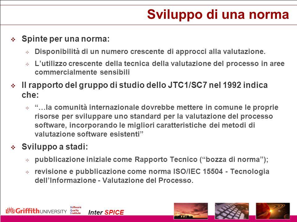 Copyright InterSPICE Ltd.ISO/IEC 15504 (SPICE): Current and Future Directions1 December 2003 Software Quality Institute Inter SPICE Il nuovo Quadro di Riferimento per la Misurazione Livello 1Eseguito PA.1.1Esecuzione del Processo Livello 1Eseguito PA.1.1Esecuzione del Processo Livello 2Gestito PA.2.1Gestione delle Prestazioni PA.2.2Gestione dei Prodotti Livello 2Gestito PA.2.1Gestione delle Prestazioni PA.2.2Gestione dei Prodotti Livello 3Stabilito PA.3.1Definizione del Processo PA.3.2Utilizzo del processo Livello 3Stabilito PA.3.1Definizione del Processo PA.3.2Utilizzo del processo Livello 4Prevedibile PA.4.1Misurazione del Processo PA.4.2Controllo del Processo Livello 4Prevedibile PA.4.1Misurazione del Processo PA.4.2Controllo del Processo Livello 5Ottimizzante PA.5.1Innovazione del Processo PA.5.2Ottimizzazione del Processo Livello 5Ottimizzante PA.5.1Innovazione del Processo PA.5.2Ottimizzazione del Processo Livello 0Incompleto Incompleto Il processo non è implementato o non raggiunge il suo obiettivo Eseguito Il processo è implementato e raggiunge il suo obiettivo Gestito Il processo è gestito ed i suoi prodotti sono stabiliti, controllati e manutenuti.