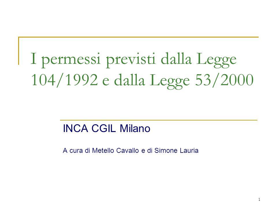 INCA CGIL Milano – Permessi per invalidi e assistenza agli invalidi 2 Caratteri generali La legge 104 del 1992 disciplina agevolazioni rivolte sia ai lavoratori portatori di handicap che a quei lavoratori che abbiano un figlio o parente disabile.