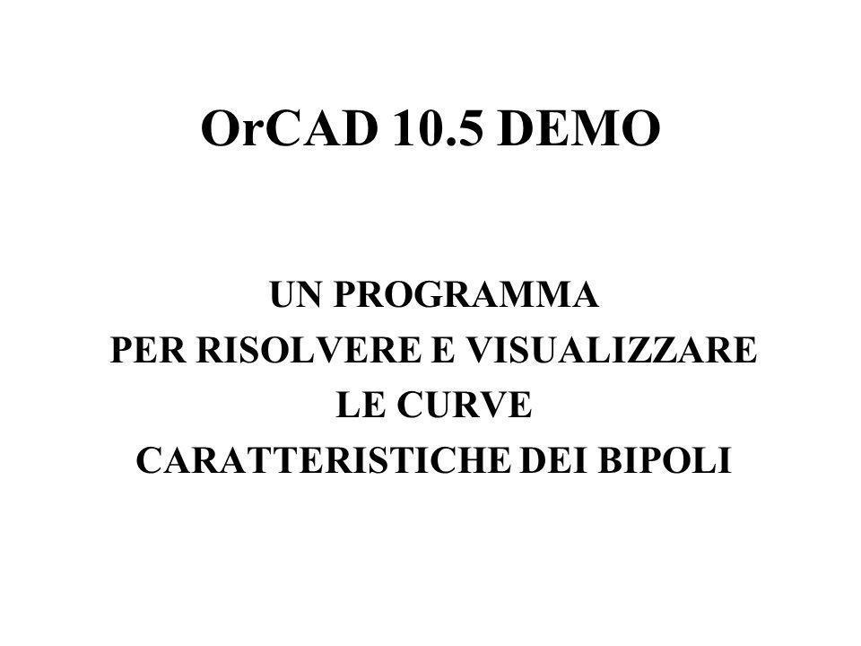 OrCAD 10.5 DEMO UN PROGRAMMA PER RISOLVERE E VISUALIZZARE LE CURVE CARATTERISTICHE DEI BIPOLI