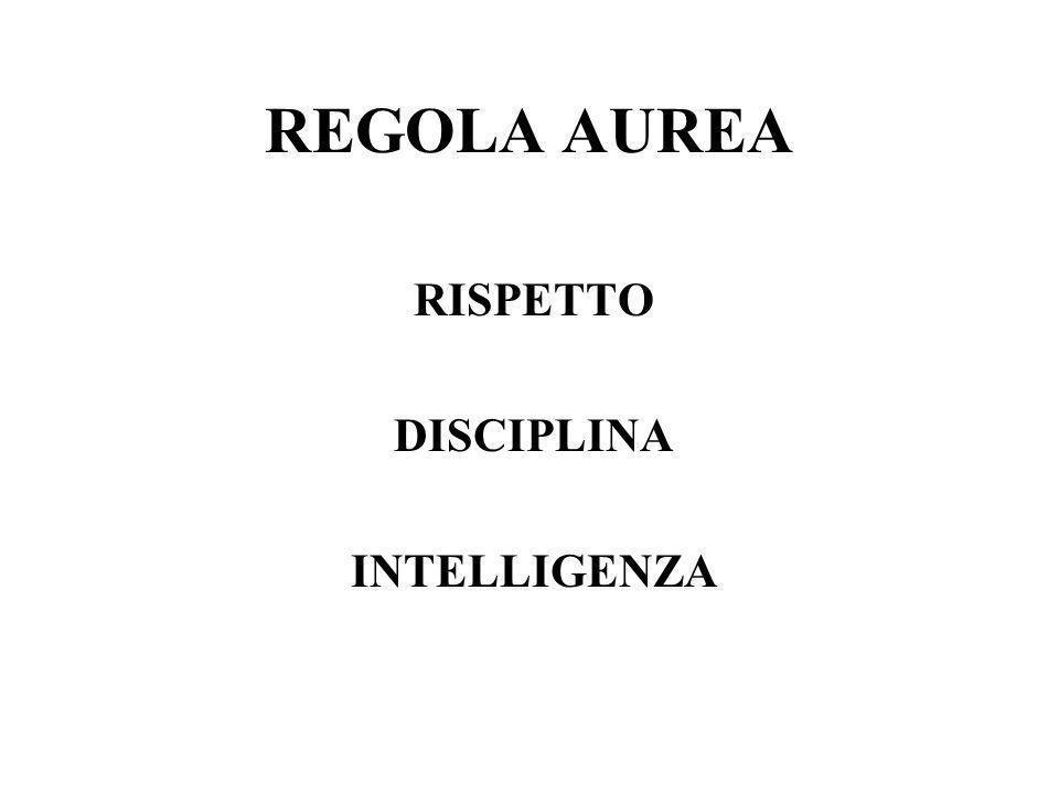 REGOLA AUREA RISPETTO DISCIPLINA INTELLIGENZA