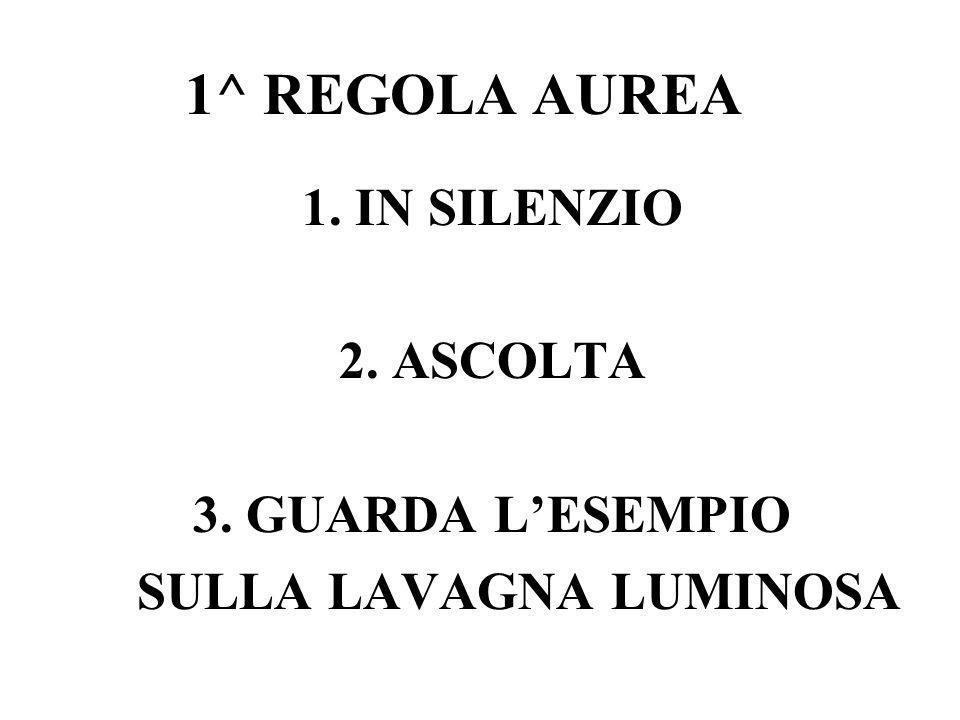 1^ REGOLA AUREA 1. IN SILENZIO 2. ASCOLTA 3. GUARDA L'ESEMPIO SULLA LAVAGNA LUMINOSA