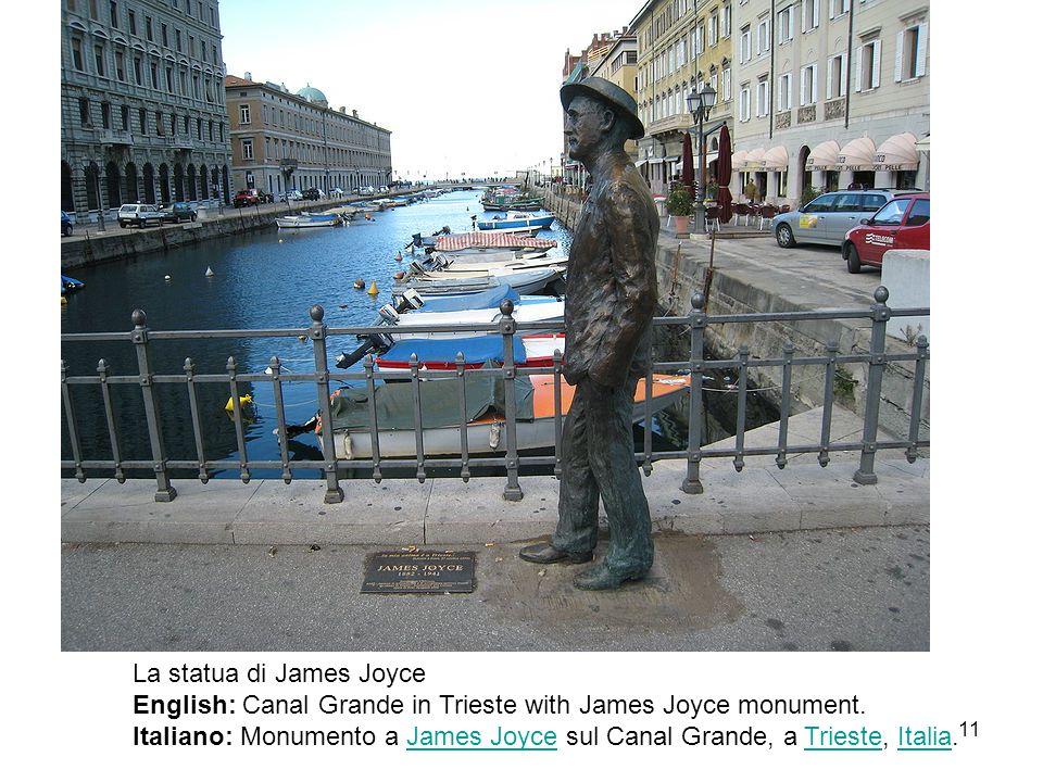 La statua di James Joyce English: Canal Grande in Trieste with James Joyce monument. Italiano: Monumento a James Joyce sul Canal Grande, a Trieste, It