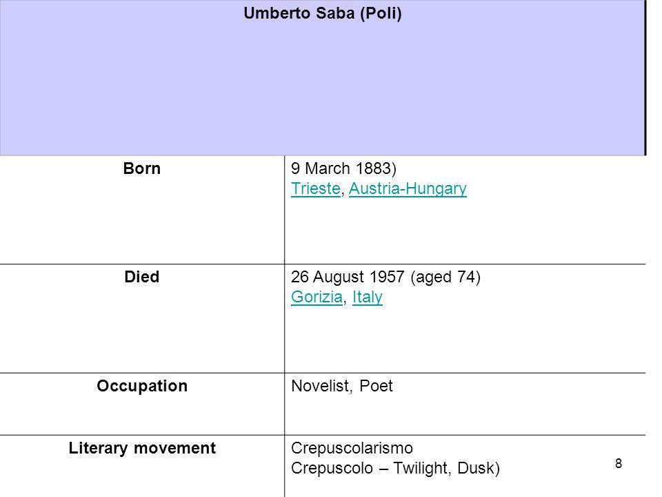 Umberto Saba (Poli) Born9 March 1883) Trieste, Austria-Hungary TriesteAustria-Hungary Died26 August 1957 (aged 74) Gorizia, Italy GoriziaItaly Occupat