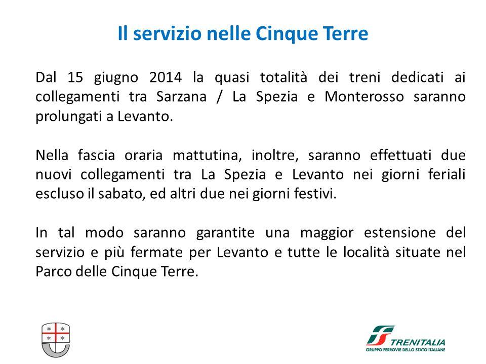 10 Il servizio nelle Cinque Terre Dal 15 giugno 2014 la quasi totalità dei treni dedicati ai collegamenti tra Sarzana / La Spezia e Monterosso saranno prolungati a Levanto.