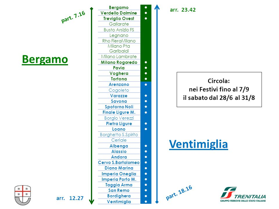 Bergamo Ventimiglia Bergamo ● Verdello Dalmine ● Treviglio Ovest ● Gallarate Busto Arsizio FS Legnano Rho FieraMilano Milano Pta Garibaldi Milano Lamb