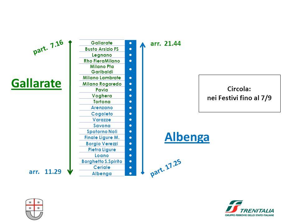 Gallarate Albenga Circola: nei Festivi fino al 7/9 Gallarate ● Busto Arsizio FS ● Legnano ● Rho FieraMilano ● Milano Pta Garibaldi ● Milano Lambrate ●