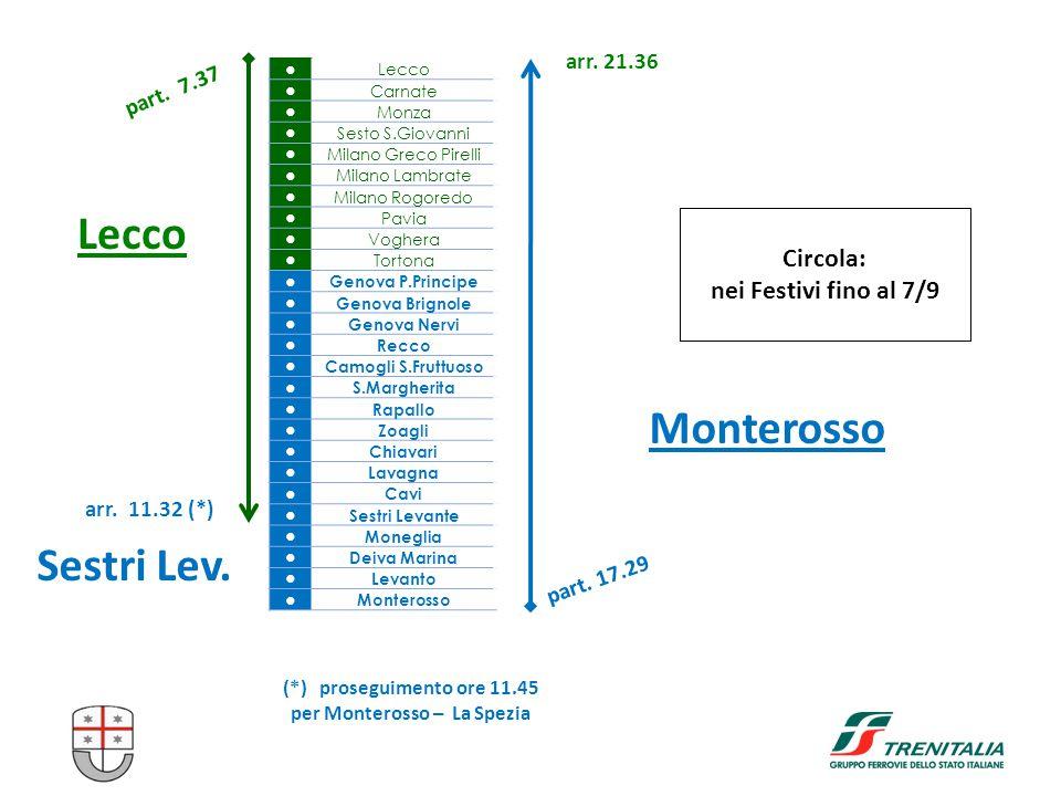 part. 7.37 ● Lecco ● Carnate ● Monza ● Sesto S.Giovanni ● Milano Greco Pirelli ● Milano Lambrate ● Milano Rogoredo ● Pavia ● Voghera ● Tortona ● Genov