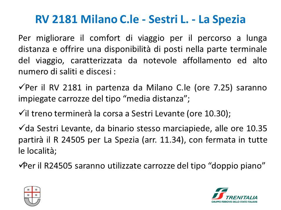 9 RV 2181 Milano C.le - Sestri L. - La Spezia Per migliorare il comfort di viaggio per il percorso a lunga distanza e offrire una disponibilità di pos