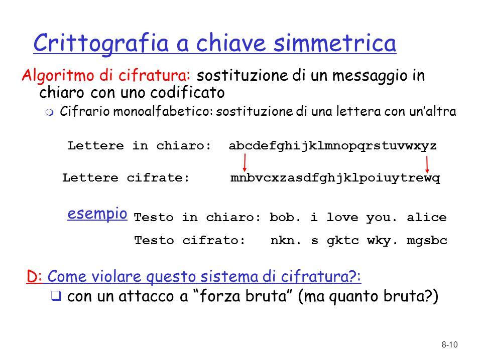 8-10 Crittografia a chiave simmetrica Algoritmo di cifratura: sostituzione di un messaggio in chiaro con uno codificato  Cifrario monoalfabetico: sos