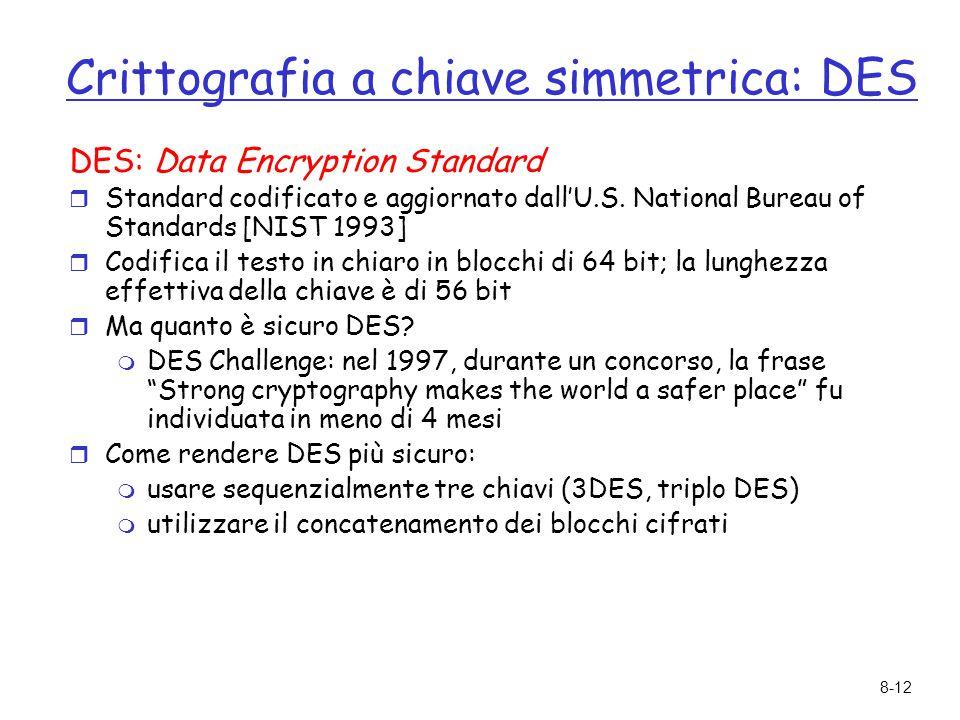 8-12 Crittografia a chiave simmetrica: DES DES: Data Encryption Standard  Standard codificato e aggiornato dall'U.S. National Bureau of Standards [NI