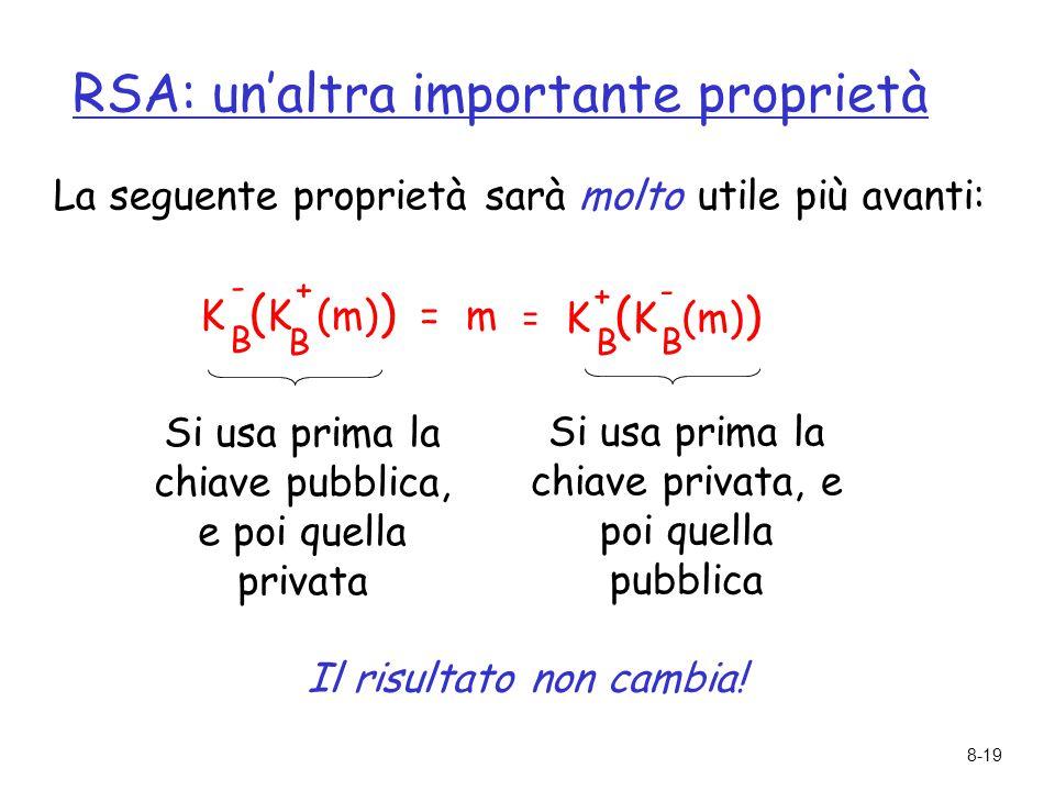 8-19 RSA: un'altra importante proprietà La seguente proprietà sarà molto utile più avanti: K ( K (m) ) = m B B - + K ( K (m) ) B B + - = Si usa prima