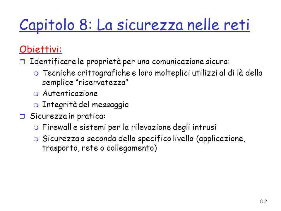 8-3 Capitolo 8 La sicurezza nelle reti 8.1 Sicurezza di rete 8.2 Principi di crittografia 8.3 Integrità dei messaggi