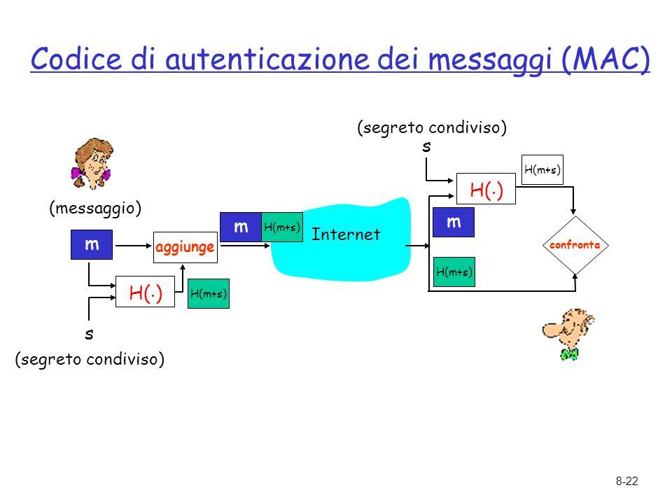 8-22 Codice di autenticazione dei messaggi (MAC) m s (segreto condiviso) (messaggio) H(. ) H(m+s) Internet aggiunge m H(m+s) s confronta m H(m+s) H(.