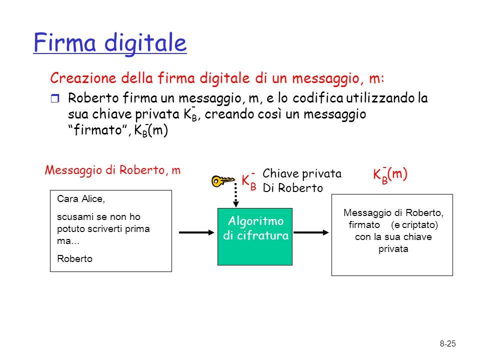 8-25 Firma digitale Creazione della firma digitale di un messaggio, m: r Roberto firma un messaggio, m, e lo codifica utilizzando la sua chiave privat