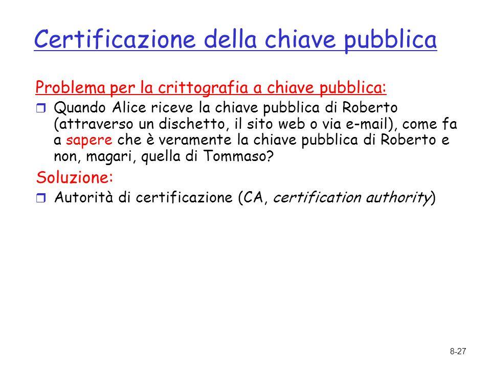 8-27 Certificazione della chiave pubblica Problema per la crittografia a chiave pubblica:  Quando Alice riceve la chiave pubblica di Roberto (attrave