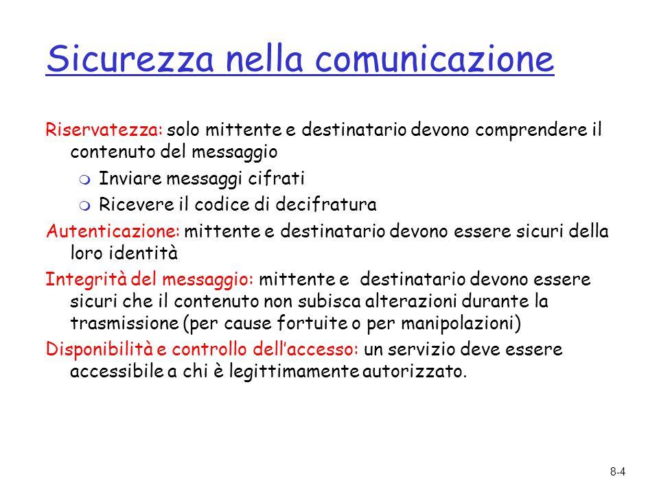 8-4 Sicurezza nella comunicazione Riservatezza: solo mittente e destinatario devono comprendere il contenuto del messaggio  Inviare messaggi cifrati