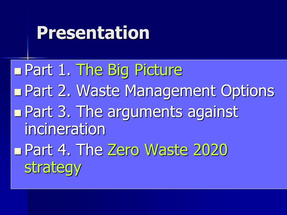 Presentation Part 1. The Big Picture Part 1. The Big Picture Part 2. Waste Management Options Part 2. Waste Management Options Part 3. The arguments a