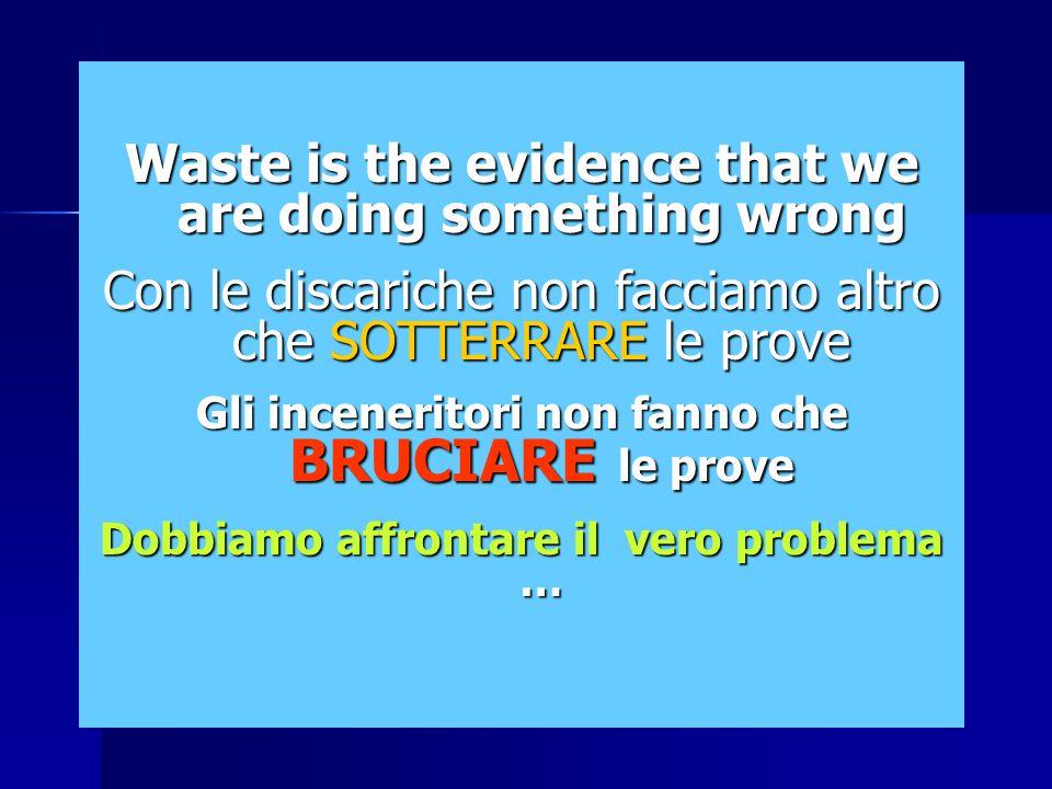 Waste is the evidence that we are doing something wrong Con le discariche non facciamo altro che SOTTERRARE le prove Gli inceneritori non fanno che BRUCIARE le prove Dobbiamo affrontare il vero problema …