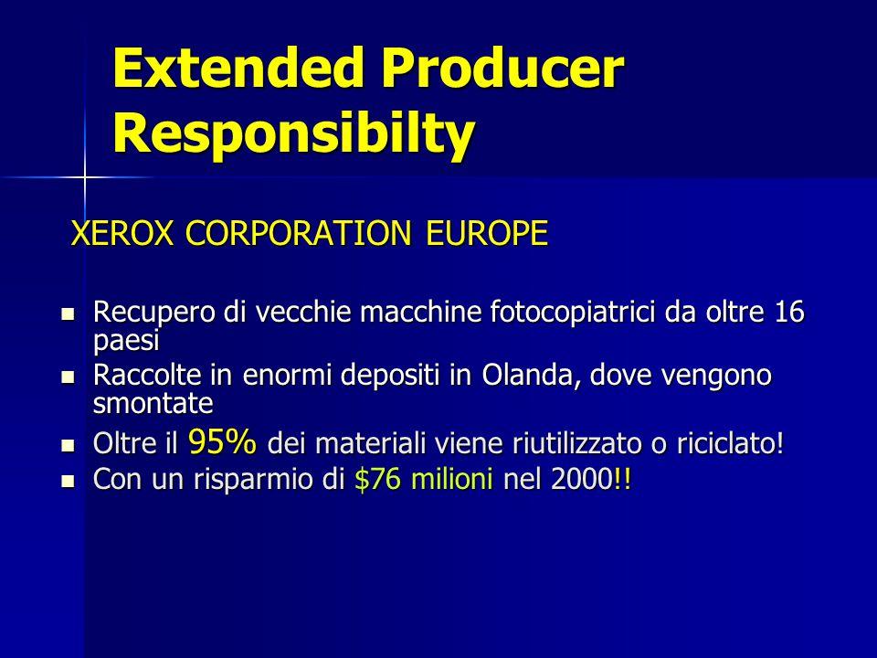 Extended Producer Responsibilty XEROX CORPORATION EUROPE XEROX CORPORATION EUROPE Recupero di vecchie macchine fotocopiatrici da oltre 16 paesi Recupero di vecchie macchine fotocopiatrici da oltre 16 paesi Raccolte in enormi depositi in Olanda, dove vengono smontate Raccolte in enormi depositi in Olanda, dove vengono smontate Oltre il 95% dei materiali viene riutilizzato o riciclato.