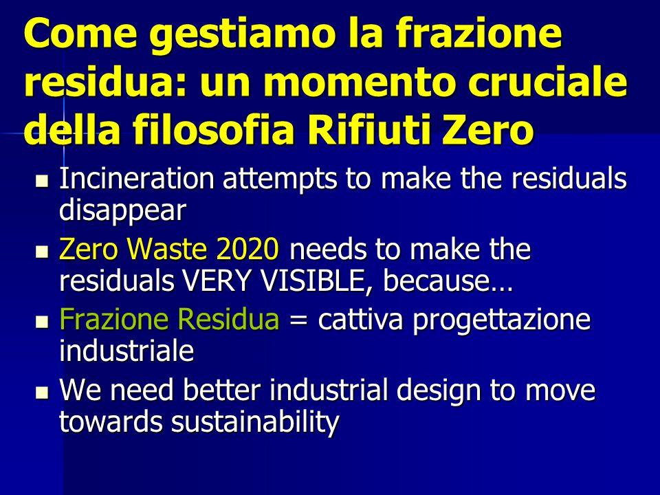 Come gestiamo la frazione residua: un momento cruciale della filosofia Rifiuti Zero Incineration attempts to make the residuals disappear Incineration