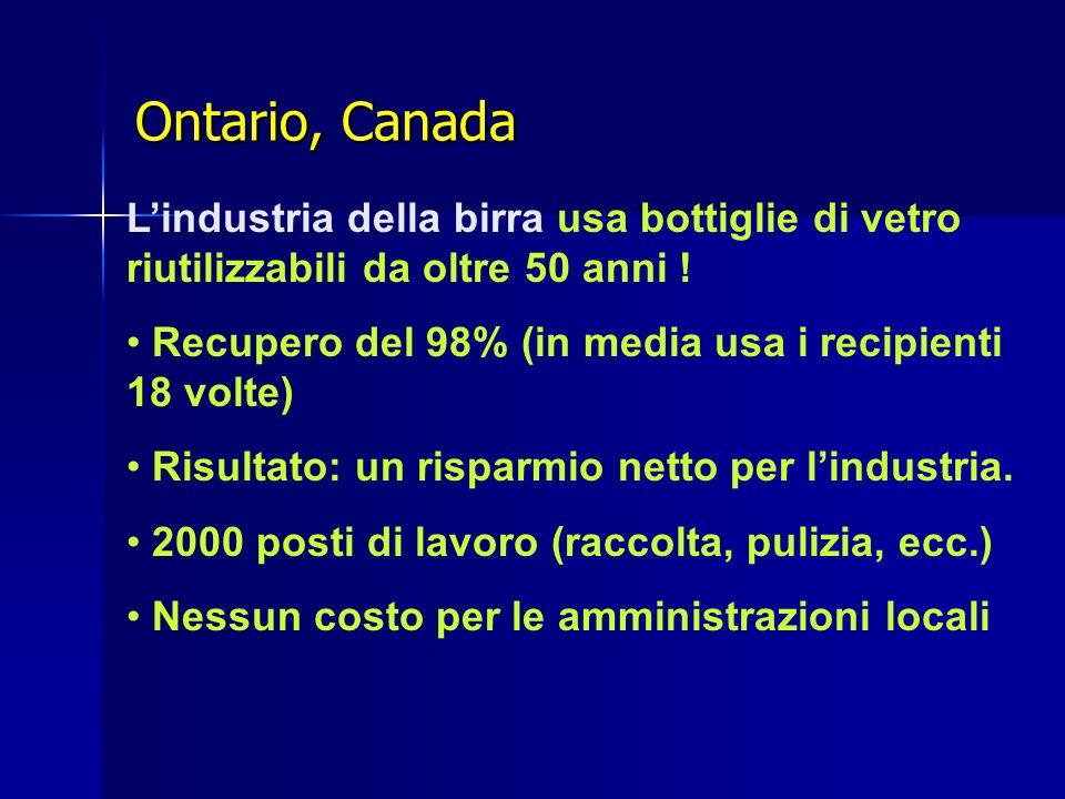 Ontario, Canada L'industria della birra usa bottiglie di vetro riutilizzabili da oltre 50 anni .