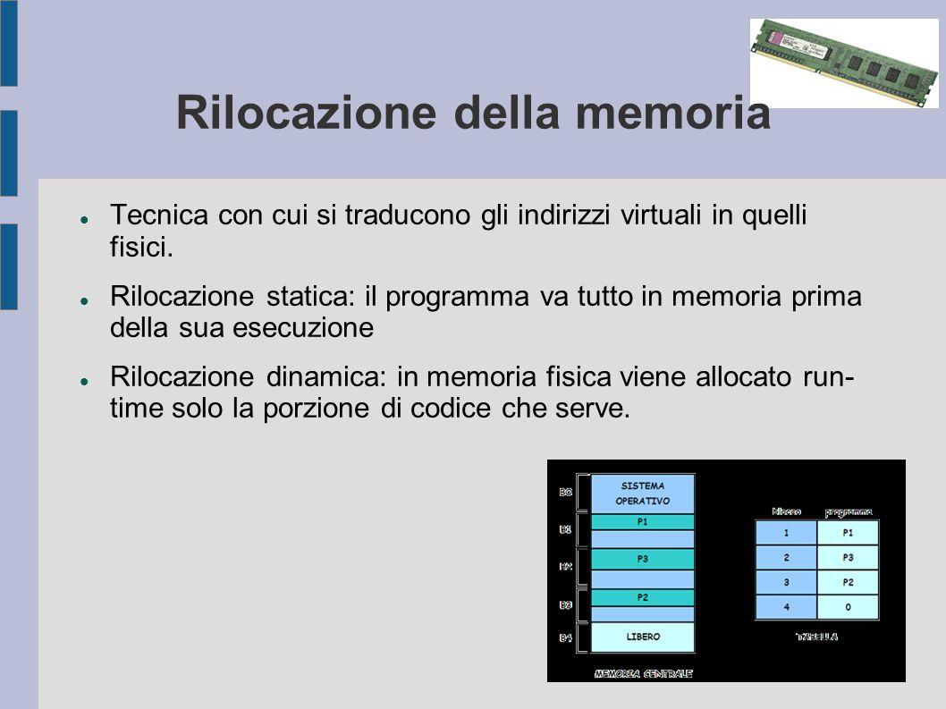 Rilocazione della memoria Tecnica con cui si traducono gli indirizzi virtuali in quelli fisici.
