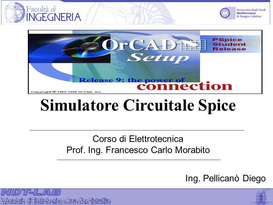 Corso di Elettrotecnica Prof. Ing. Francesco Carlo Morabito Simulatore Circuitale Spice Ing. Pellicanò Diego