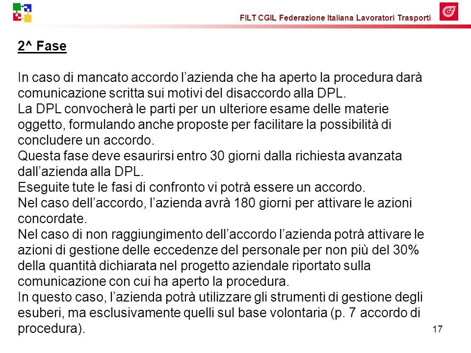 FILT CGIL Federazione Italiana Lavoratori Trasporti 17 2^ Fase In caso di mancato accordo l'azienda che ha aperto la procedura darà comunicazione scritta sui motivi del disaccordo alla DPL.