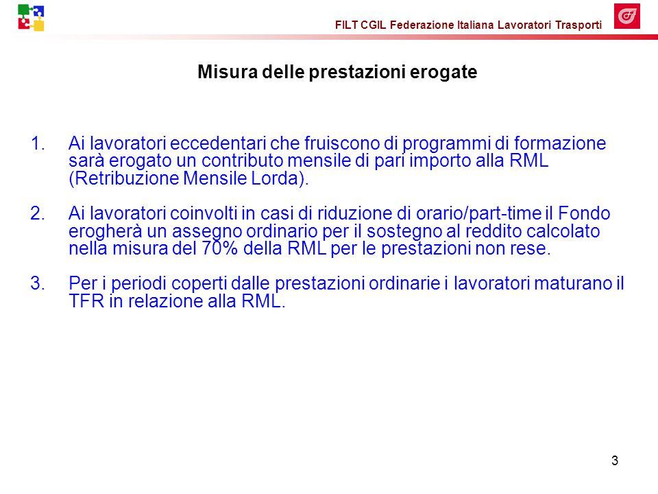 FILT CGIL Federazione Italiana Lavoratori Trasporti 3 Misura delle prestazioni erogate 1.Ai lavoratori eccedentari che fruiscono di programmi di formazione sarà erogato un contributo mensile di pari importo alla RML (Retribuzione Mensile Lorda).