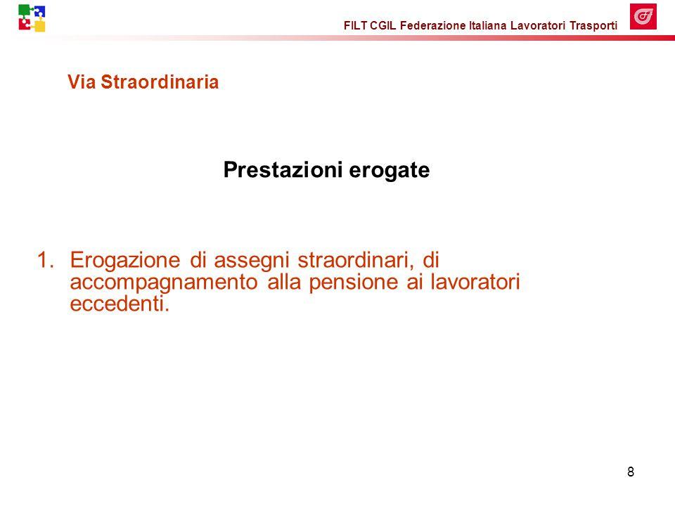 FILT CGIL Federazione Italiana Lavoratori Trasporti 8 Via Straordinaria 1.Erogazione di assegni straordinari, di accompagnamento alla pensione ai lavoratori eccedenti.