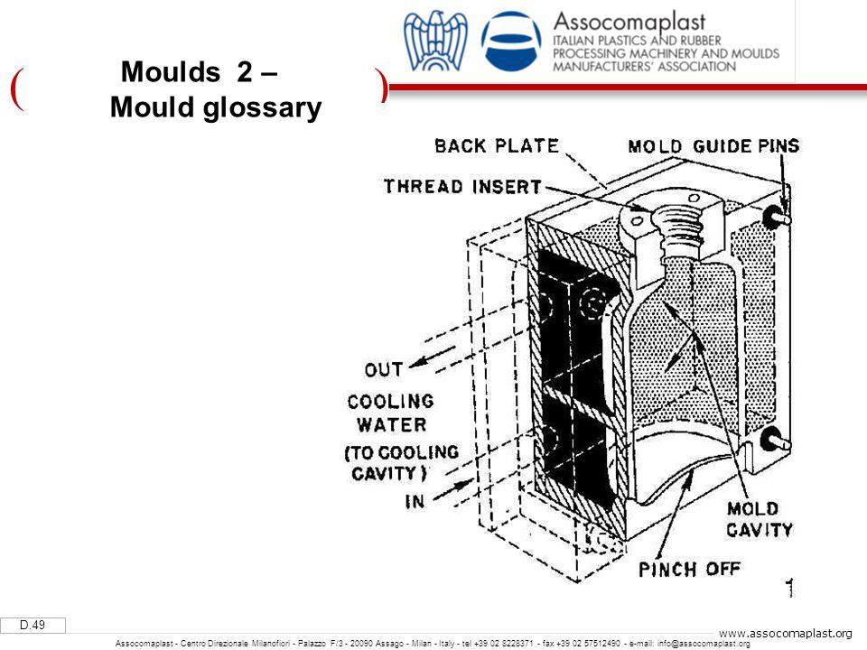)( D.49 Assocomaplast - Centro Direzionale Milanofiori - Palazzo F/3 - 20090 Assago - Milan - Italy - tel +39 02 8228371 - fax +39 02 57512490 - e-mail: info@assocomaplast.org www.assocomaplast.org Moulds 2 – Mould glossary